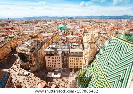 View from St. Stephen's Cathedral over Stephansplatz square in Vienna, capital of Austria on sunny day - stock photo