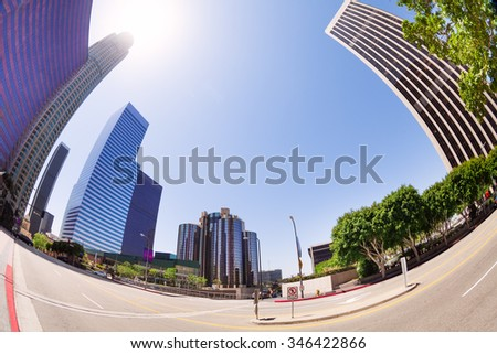 View from street of skyscrapers in LA downtown - stock photo