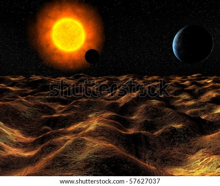 view from surface of planet on sun and Earth in space - stock photo