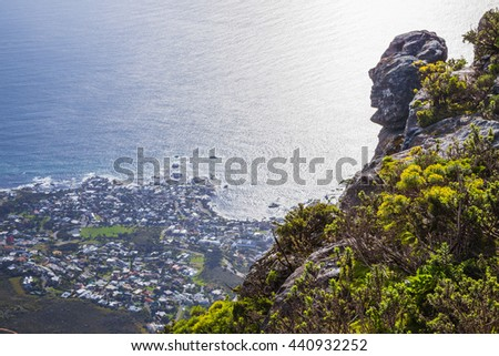 View from Table Mountain to Cape Town - stock photo