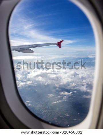 view from the airplane window - stock photo