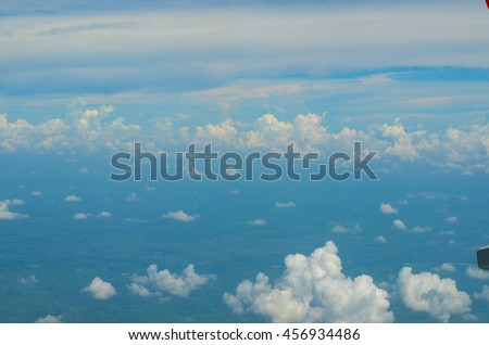 view from the airplane window,select focus - stock photo