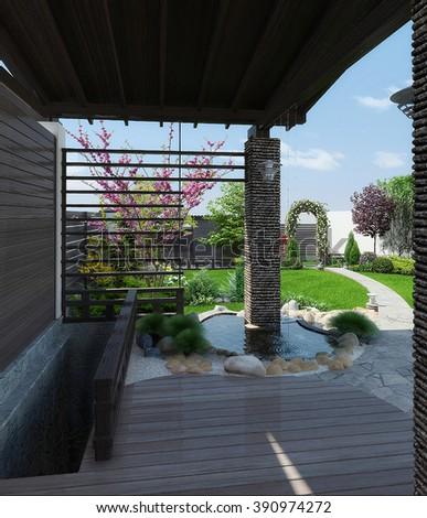 View from the awning, 3D render  - stock photo