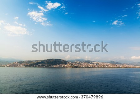 View from the Black Sea on the coastline of the port city - stock photo