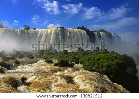 View from the Brazilian side at the Iguazu falls - stock photo