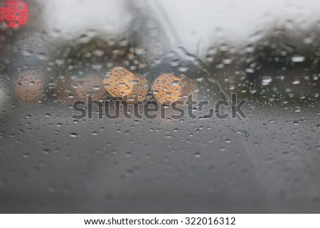 view from the car in the rain - stock photo