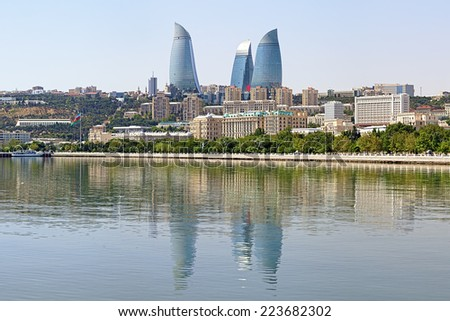 View from the Caspian Sea on the Flame Towers skyscrapers in Baku, Azerbaijan - stock photo