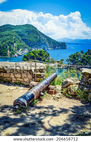 View from the castle of Parga, Greece. - stock photo
