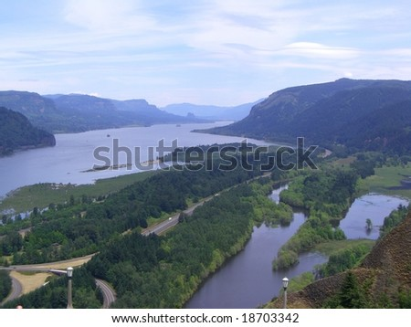 View from the Columbia River Scenic Byway - stock photo