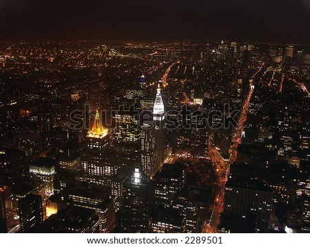 View from the Empire State Building in New York - stock photo