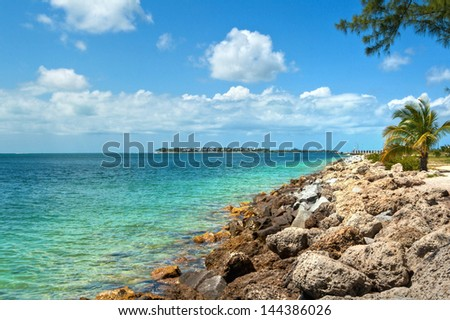 View from the Fort Zachary Taylor Historic State Park in Key West, Florida.  - stock photo