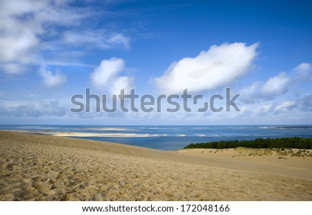 View from the highest dune in Europe - Dune of Pyla (Pilat) - stock photo