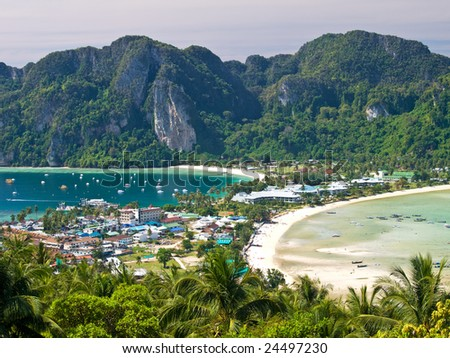 View from the highest point of Ko Phi-Phi island in Thailand - stock photo