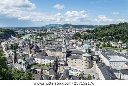 View from the Hohensalzburg Castle ,Salzburg, Austria - stock photo