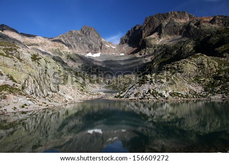 view from the lake Blanc on the wildlife reserve of the aiguilles rouge near Chamonix - stock photo