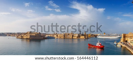 View from the lower Baccarra Garden,Valletta, Malta Grand harbor