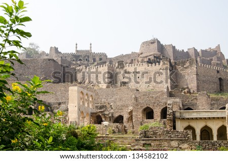 View from the lower levels of the ruins of Golcanda Fort, Hyderabad, India.  Built in Medieval times as a bastion for Mughal rulers.