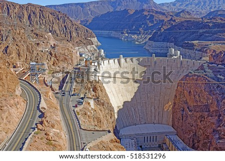 View from the Mike O'Callaghan - Pat Tillman Memorial Bridge of the famous Hoover Dam near Las Vegas, Nevada