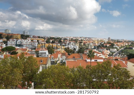 View from the mountain over the rooftops. The modern landscape. Portugal. - stock photo