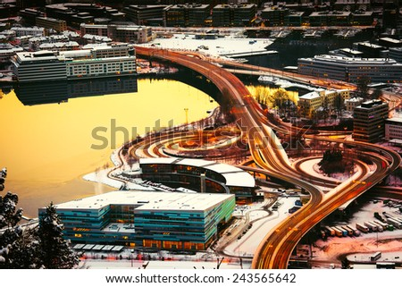 view from the mountains to Bergen in the winter with roads , Norway - stock photo