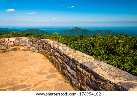 View from the observation deck on Hawksbill Mountain, Shenandoah National Park, Virginia. - stock photo