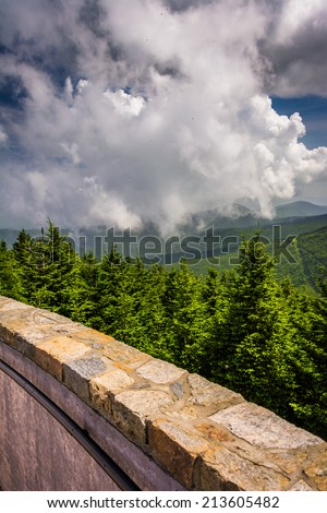 View from the Observation Tower at Mount Mitchell, North Carolina. - stock photo