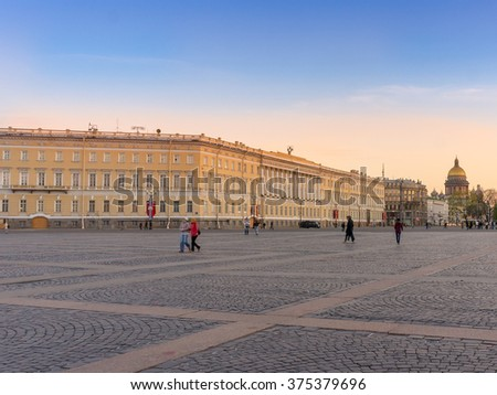 View from the Palace Square, St. Isaac's Cathedral and General Staff Building at sunset in Saint Petersburg, Russia