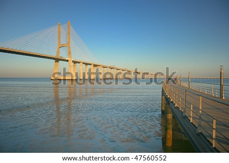 view from the pier of the longest bridge in europe - stock photo