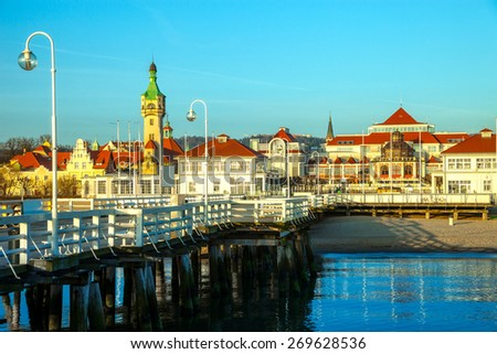 View from the pier on the beautiful architecture of Sopot, Poland. - stock photo