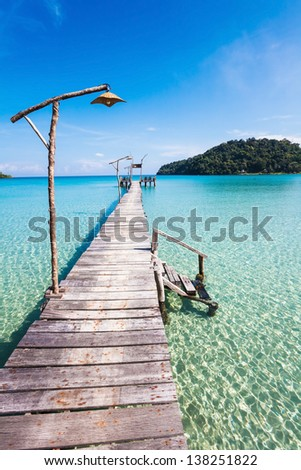 View from the pier on the sea at loneliness beach - stock photo