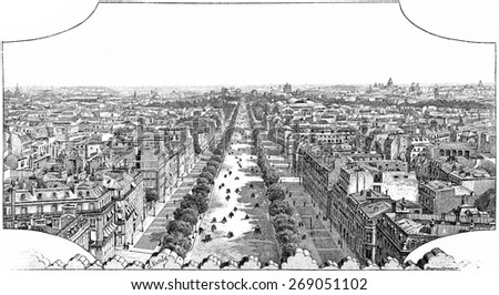View from the platform of the Arc de Triomphe, vintage engraved illustration. Paris - August 1890. - stock photo