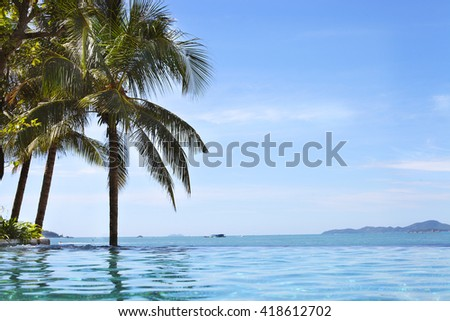 View from the pool to the North Pattaya beach and Coconut, Thailand - stock photo