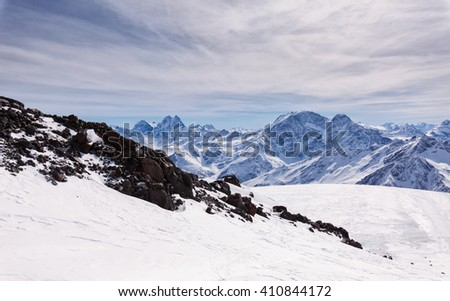 View from the Refuge of the 11 on the mount Elbrus, the northern Caucasus mountains, Russia