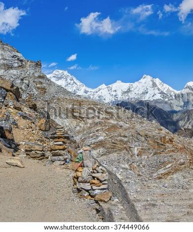 View from the Renjo Pass (5360 m) on the Mahalangur Himal ridge - Gokyo region, Nepal, Himalayas - stock photo