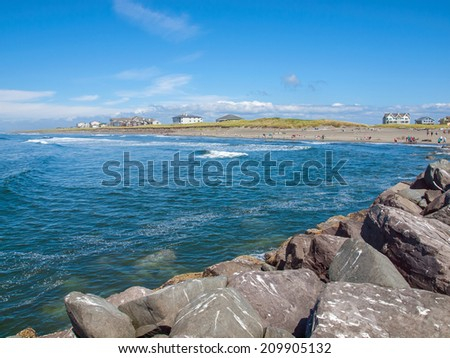 View from the Rock Jetty on a Clear Sunny Day at Ocean Shores Washington USA - stock photo