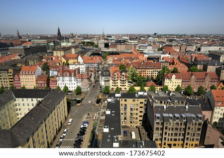 View from the roof of The Church of Our Saviour in Copenhagen, Denmark