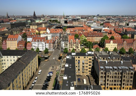 view from the roof of The Church of Our Saviour in Copenhagen, Denmark  - stock photo