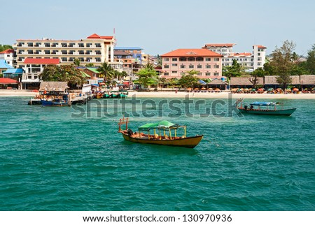 View from the sea on a city beach of Sihanoukville - stock photo
