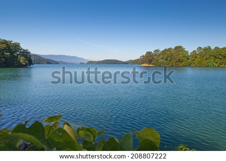 View from the shore at South Holston Lake - stock photo