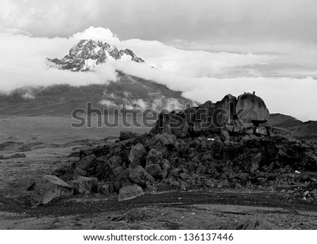 View from the slopes of Kilimanjaro peak Mawenzi - Tanzania, East Africa (black and white) - stock photo