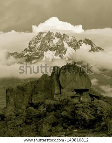 View from the slopes of Kilimanjaro peak Mawenzi - Tanzania, Eastern Africa (stylized retro) - stock photo