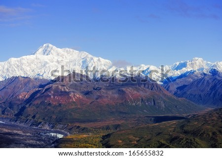 View from the south side of Mount McKinley in the Denali National Park and Preserve, Alaska - stock photo