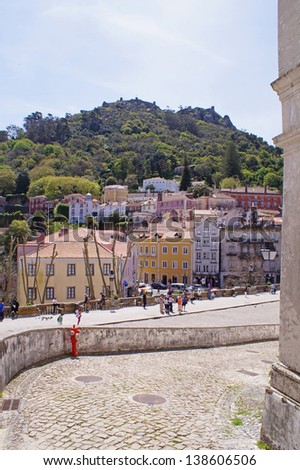 View from the square in front of The Sintra National Palace - stock photo