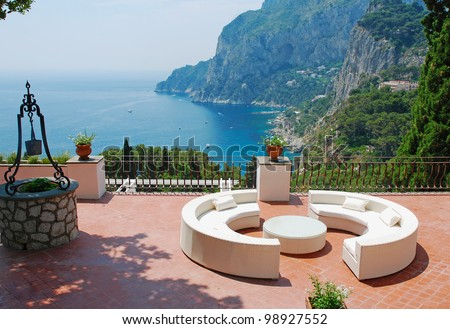View from the terrace of luxury villa, Italy - stock photo