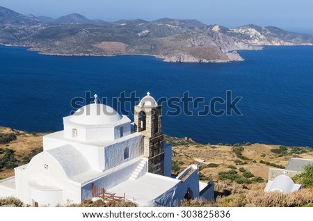 View from the top of a hill in Milos island, Cyclades, Greece