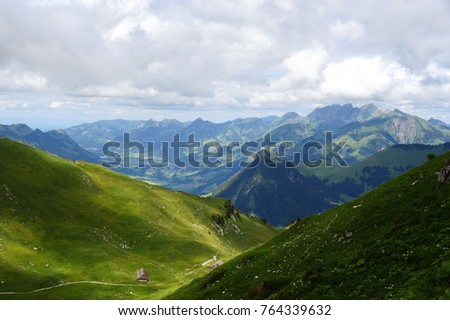 view from the top of a mountain in Swiss