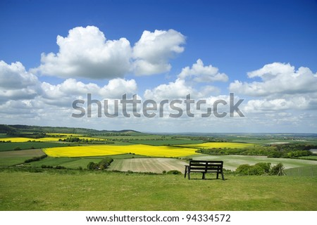 View from the top of Dunstable Downs. - stock photo