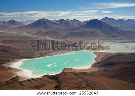 View from the top of Licancabur volcano - stock photo