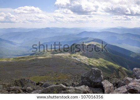View from the top of Mt. Washington with the Appalachian trail leading up - stock photo