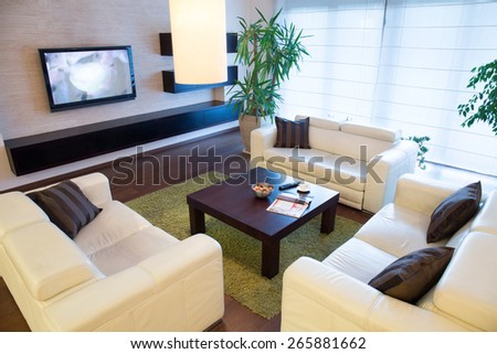 View from the top of new elegant lounge - stock photo